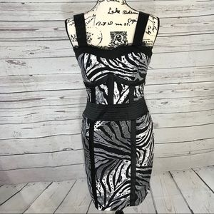 NWOT XOXO Black & Silver Zebra Striped Bodycon